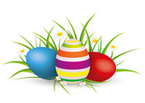 Fototapety Easter Eggs Grass With Flowers