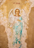 Ancient fresco of Archangel Gabriel at the gate of the Nikitsky Monastery in Pereslavl Zalessky