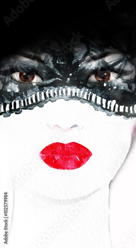 woman face. watercolor illustration - 102579984