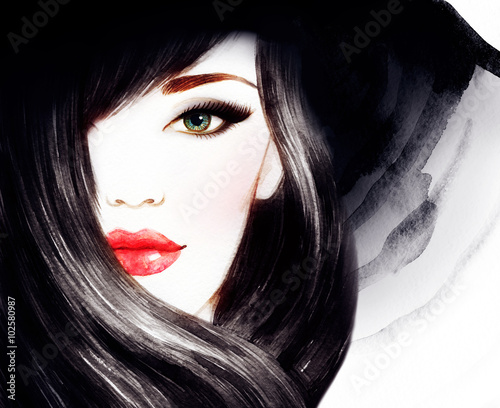 Fototapety, obrazy : Beautiful face. woman portrait with hat. watercolor painting .fashion background