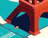 Yellow car under the Eiffel Tower