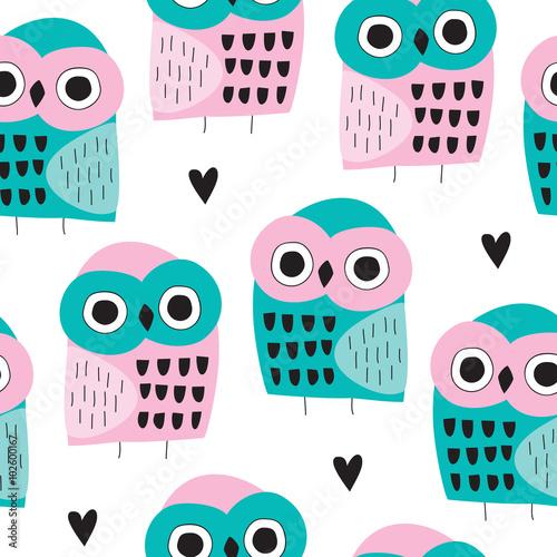 seamless owl bird pattern vector illustration