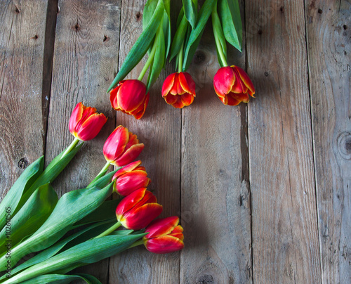 Staande foto Roses bouquet of tulips in front of spring scene
