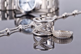 Elegant ring made of silver and silver chain and women