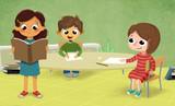 Niños en clase leyendo, escribiendo y dibujando con fondo verde - 102617993