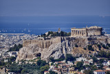 Athens Greece, acropolis and saronic gulf with some sailboats - 102618910
