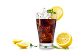 glass of cola or coke with ice cubes, slices of lemon and pepper - 102620127