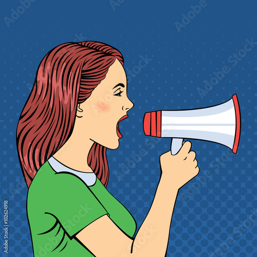 Pop Art Style Woman Screaming in Megaphone