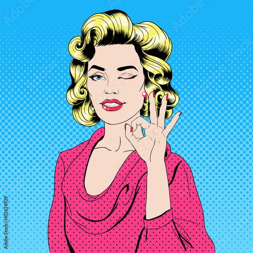 obraz lub plakat Pop Art Style Girl Gesturing Okay