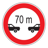 minimum following distance - traffic sign
