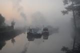 Canal Boats Winter Dawn. Eaton Socon Marina St Neots Cambeidgeshire England,