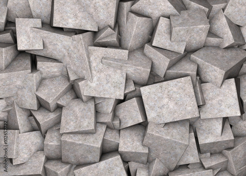 Abstract background broken concrete cubes