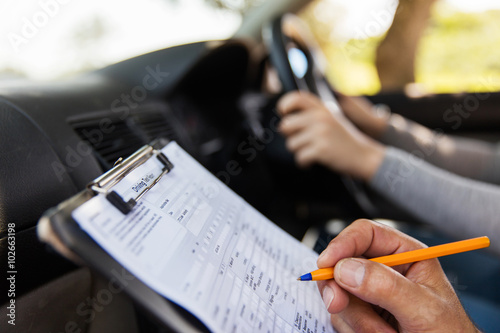 student driver taking driving test
