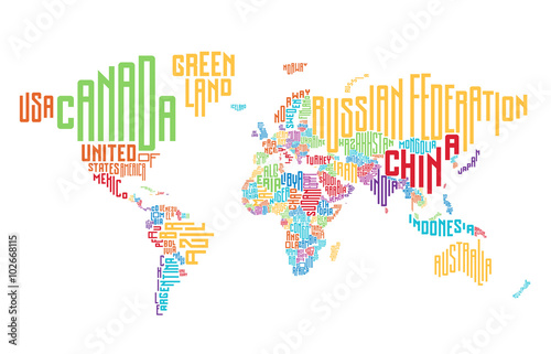Poster World map made of typographic country names