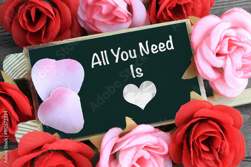 Poster chalkboard showing the message of all you need is love
