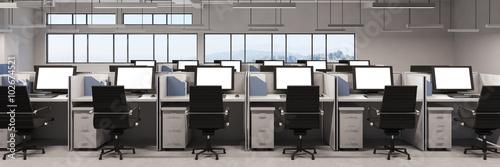 obraz lub plakat Panorama mit Büro und vielen Monitoren