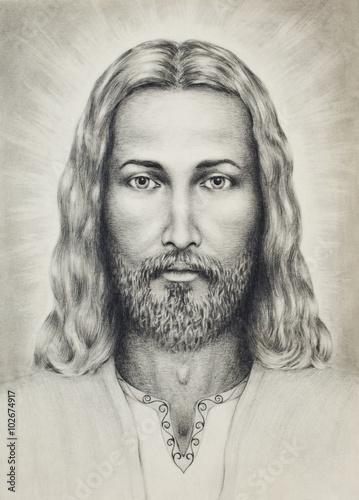 olowki-rysunek-jezusa-na-wzor-papieru-z-ornamentem-na-odziezy-kontakt-wzrokowy