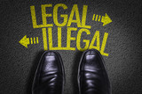 Top View of Business Shoes on the floor with the text: Legal - Illegal - 102679748