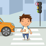 Fototapety Child crossing street