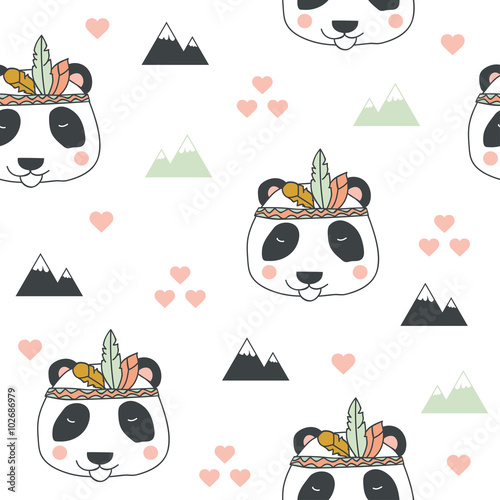 Beautiful indian seamless pattern of panda bear with feathers in vector.  Cute cartoon background in bright colors - 102686979