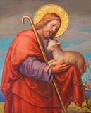 Vienna - Fresco of Jesus as good shepherd in Carmelites church