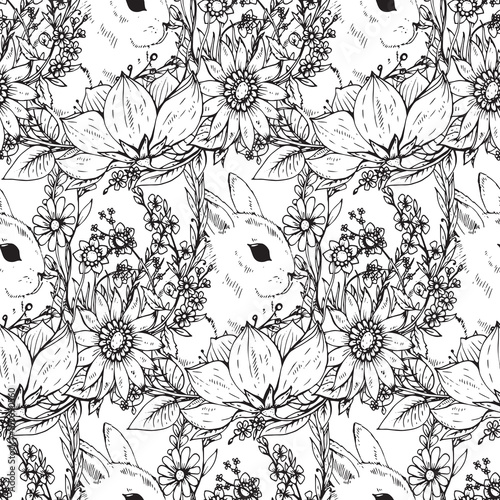 Cotton fabric Vector floral seamless pattern with hand drawn flowers and rabbits
