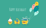 Happy birthday card. Funny birthday gift with balloons and cupcake with invitation envelope. Vector illustration.