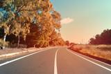 Strada asfaltata con alberi nei lati