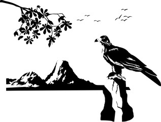Eagle sitting on stone. Vector illustration