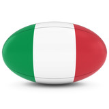 Italy Rugby - Italian Flag on Rugby Ball on White