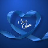 Save the Date. Blue Ribbon Heart.