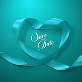 Save the Date. Turquoise Ribbon Heart.