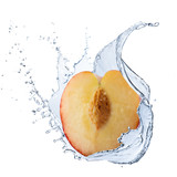 Fresh Peach With Water Splash
