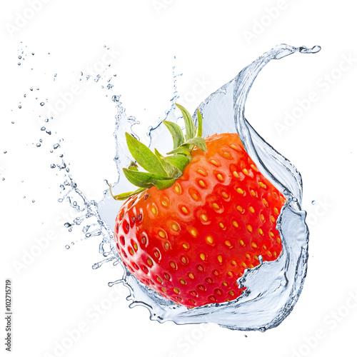 Fototapeta Water Splash With Strawberry