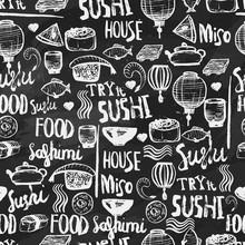 Японские суши еда бесшовного фона. Ручной обращается иллюстрации на темном фоне меловой. Может использоваться для меню, баннеров, приглашений.