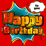 Fototapety Birthday card in style comic book and speech bubble. Vector.