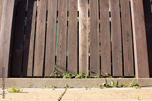 "Low Wooden Fence Staxel: "" Low Wooden Fence Brown Boards"" Stock Photo And Royalty"