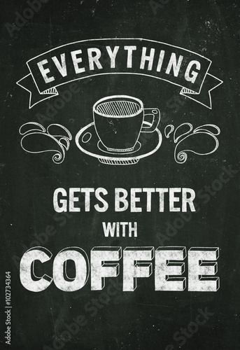 Hand drawn poster with quote about coffee © helen_f