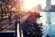 Lower Manhattanat sunset as viewed from Hudson River Park