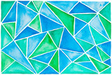 Watercolor blue background with triangles - 102745541