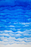 Watercolor blue background. Watercolor layers of different density. - 102745557