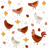 Vector seamless pattern with chickens, chickens and a rooster - 102745584
