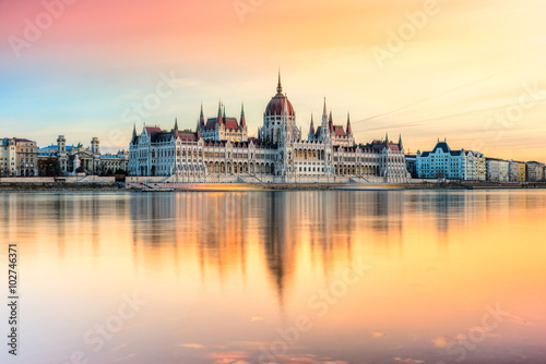Budapest parliament at sunset, Hungary Poster