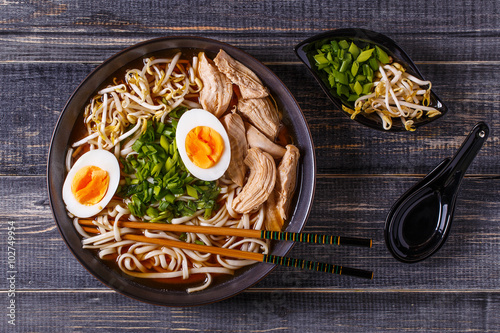 Plagát, Obraz Japanese ramen soup with chicken, egg, chives and sprout.