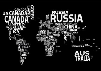 Mapa świata czarno biała nazwy państwa