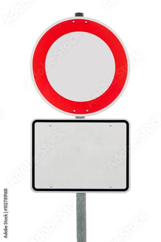 Poster Verbot für Fahrzeuge aller Art mit unbeschriftetem Zusatzschild