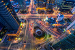 Korea,Night traffic speeds through an intersection in Seoul,Kore
