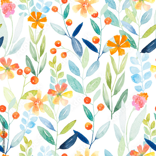 Cotton fabric Botanical seamless pattern