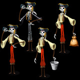Set of five pirates skeletons with different items