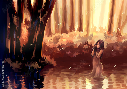 illustration digital painting girl in lake